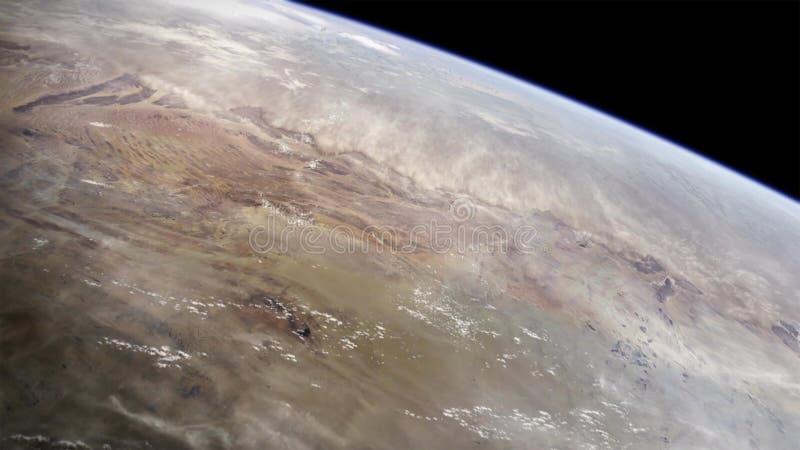 Vue d'haute altitude de la terre dans l'espace Le désert de Namib au Sud-Ouest africain photographie stock libre de droits