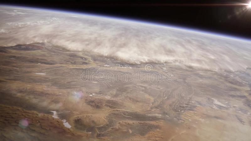 Vue d'haute altitude de la terre dans l'espace Le désert de Namib au Sud-Ouest africain photos libres de droits