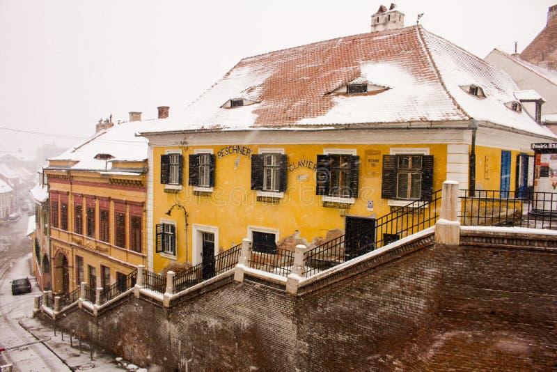 Vue d'hiver de Sibiu images libres de droits