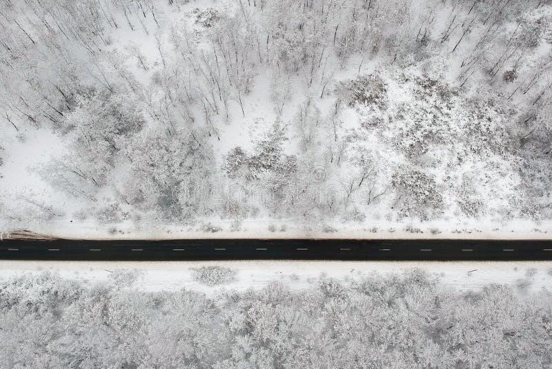 Vue d'hiver d'une route au milieu de la forêt images libres de droits
