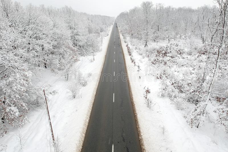Vue d'hiver d'une route au milieu de la forêt image stock