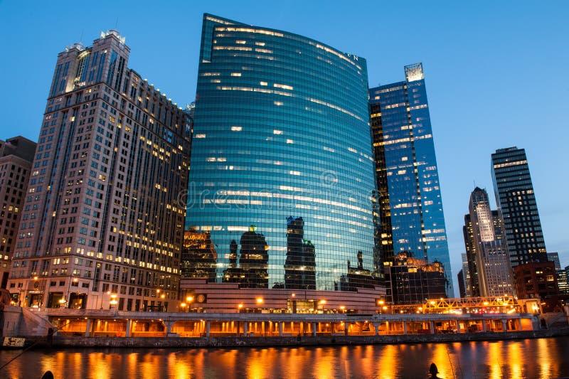 Vue de la rivière Chicago image stock