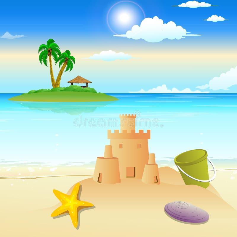 Vue d'horizontal de plage illustration stock