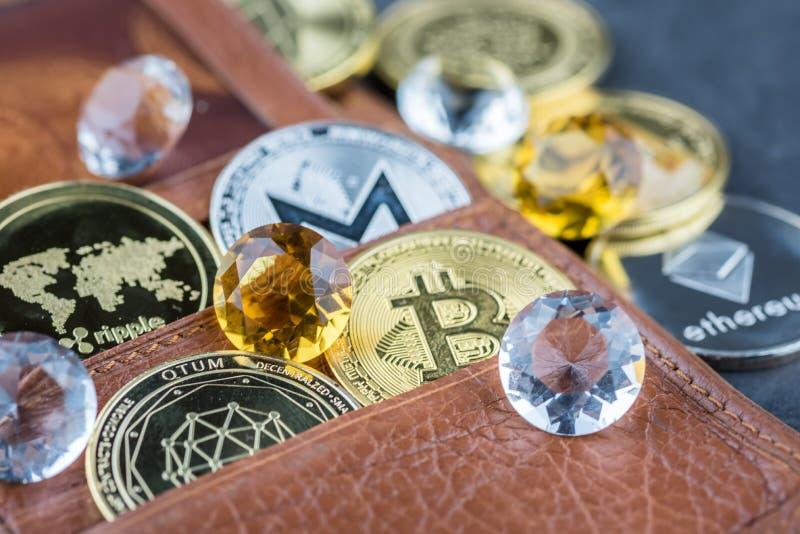 Vue d'image virtuelle de concept de cryptocurrency photo libre de droits