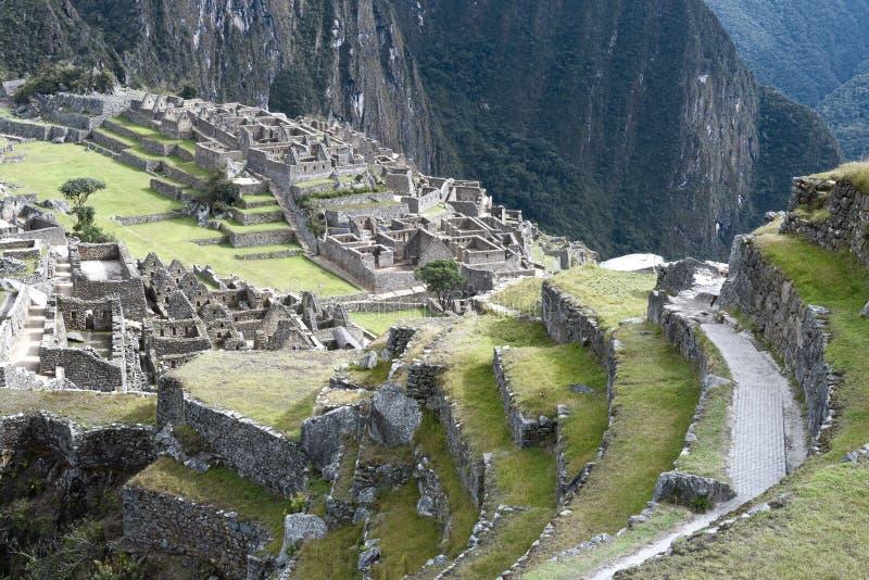 Vue d'Inca City antique de Machu Picchu Le site du 15ème siècle d'Inca 'A perdu la ville des Inca' image stock