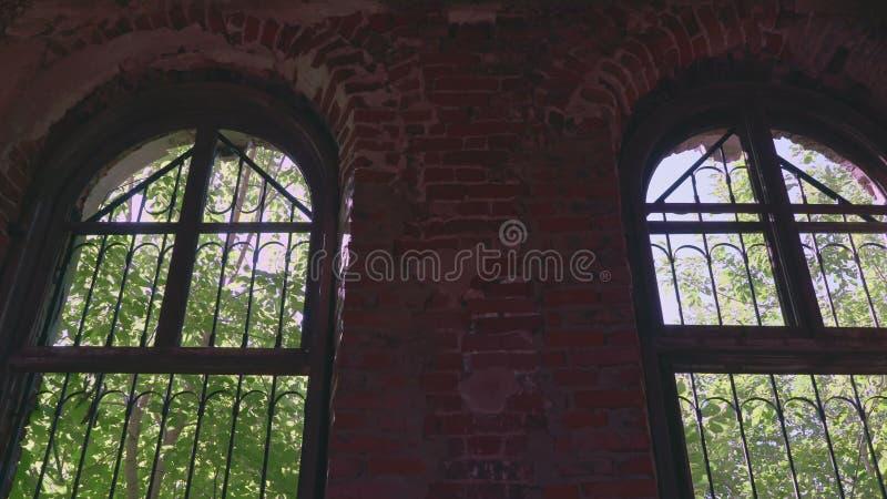 Vue d'intérieur à la forêt extérieure par l'intermédiaire de la vieille fenêtre ruinée banque de vidéos