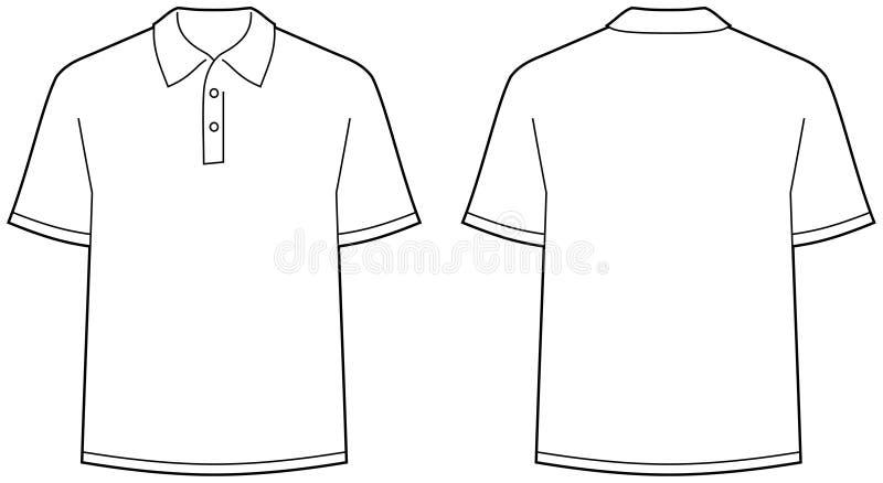vue d'isolement de chemise de polo d'avant arrière illustration stock