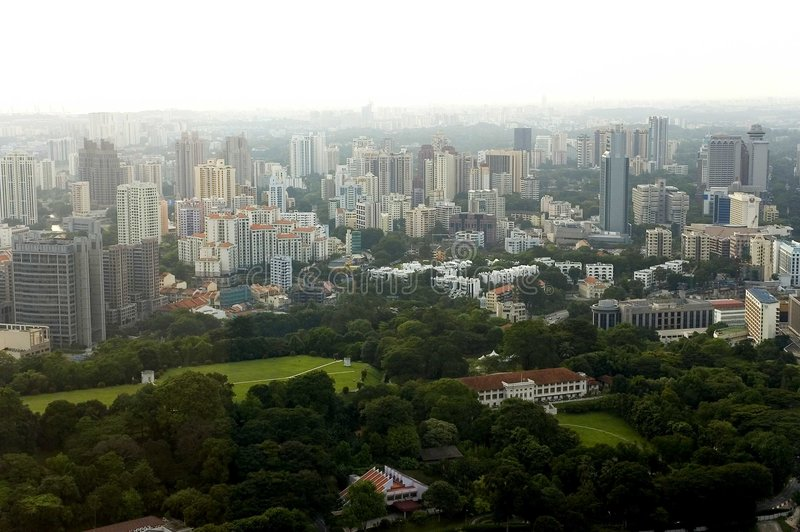 Vue d'oeil d'oiseau de Singapour images stock