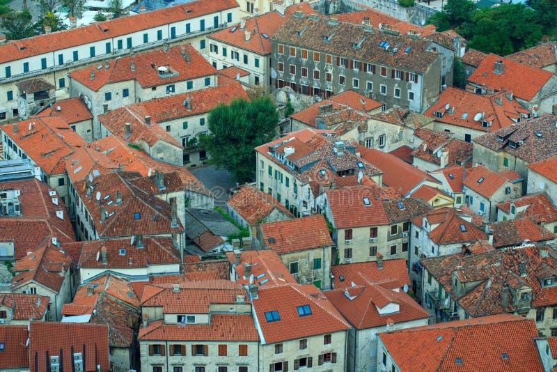 Vue d'oeil d'oiseau des constructions dans la vieille ville de Kotor, Monténégro photo stock