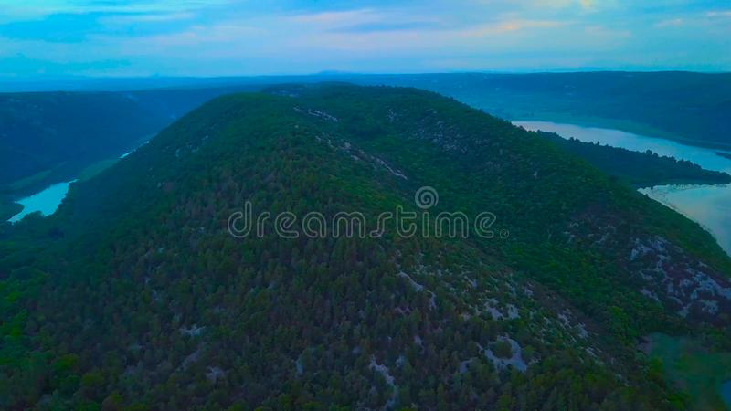Vue d'oeil d'oiseau de la Croatie, l'Europe ; Belle nature d'?le de Mljet en Croatie photo stock