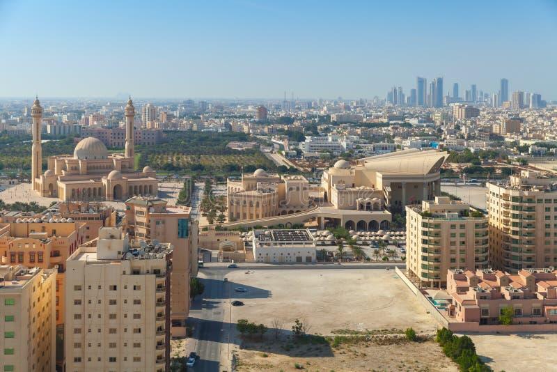 Vue d'oiseau de Manama, la capitale du Bahrain image libre de droits