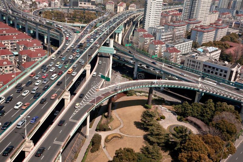 Vue d'oiseau, pont de viaduc de ville de Changhaï image libre de droits