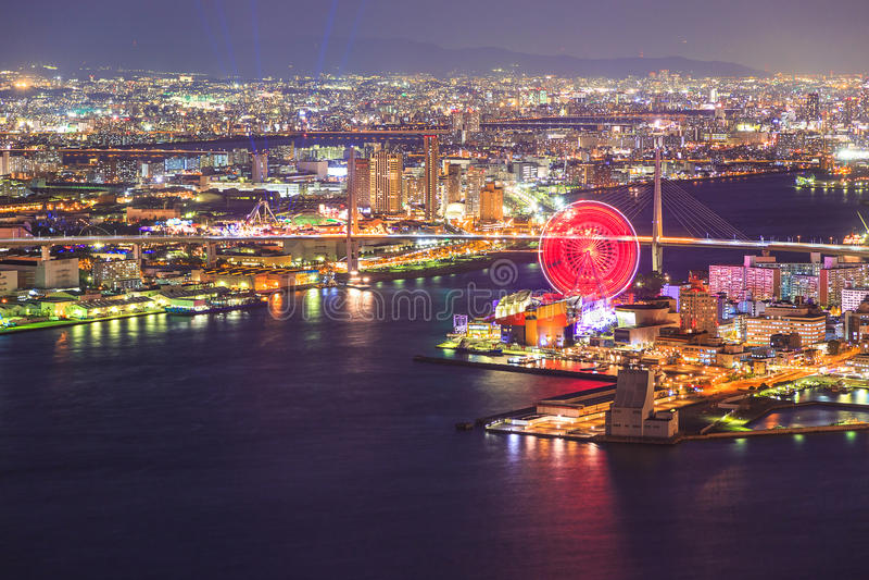 Vue d'Osaka la nuit de tour de Cosmo photos libres de droits