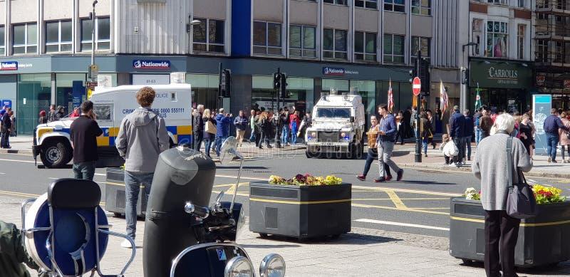 Vue d'un défilé à Belfast photo stock