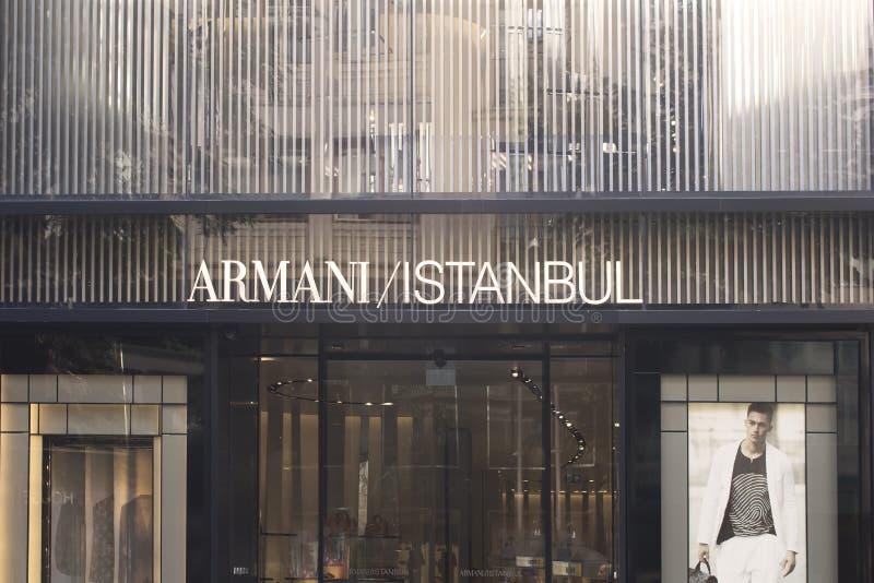 Vue d'un magasin de luxe célèbre italien de marque de mode photographie stock