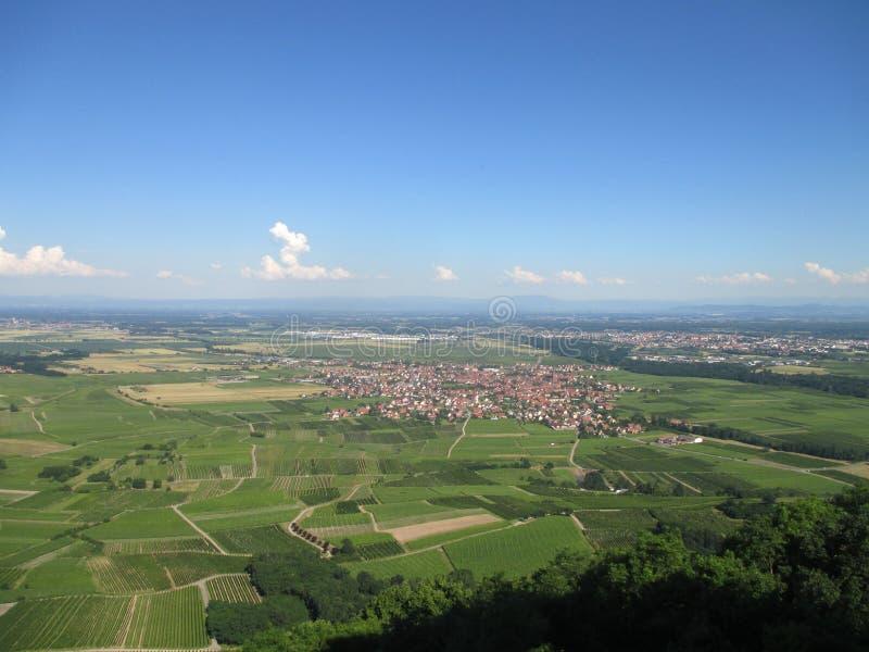 Vue d'un sommet au village de Scherwiller et à travers le plan de la rivière le Rhin Alsace, France images libres de droits