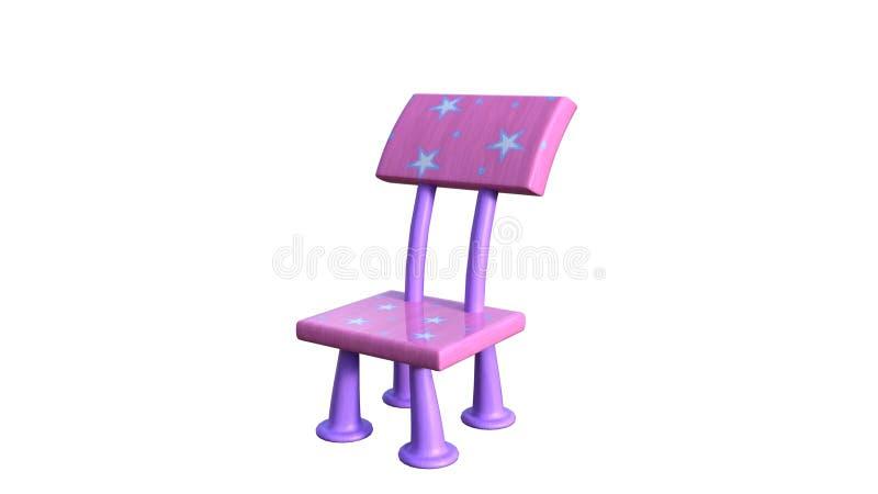 Vue d'une petite chaise colorée du ` s d'enfants illustration stock
