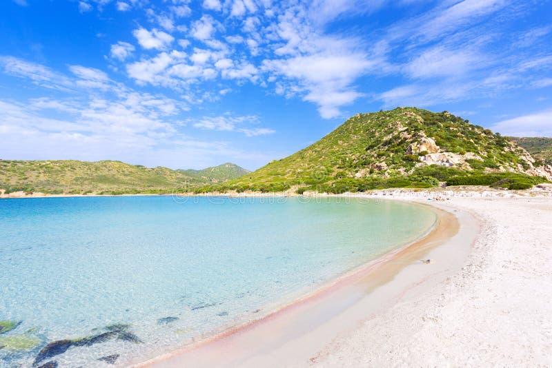 Vue d'une plage de Punta Molentis, Sardaigne, Italie photographie stock