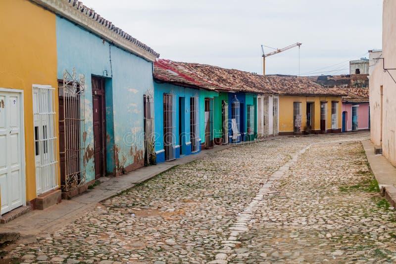 Vue d'une rue pavée en cailloutis au centre du Trinidad, CUB image libre de droits