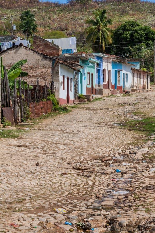 Vue d'une rue pavée en cailloutis au Trinidad, CUB image libre de droits