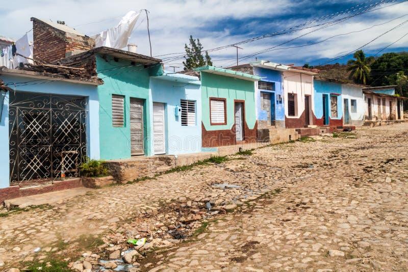 Vue d'une rue pavée en cailloutis au Trinidad, CUB photo stock