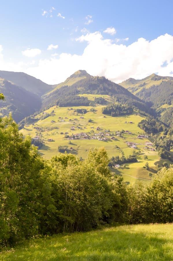 Vue d'une vallée et des collines vertes images stock