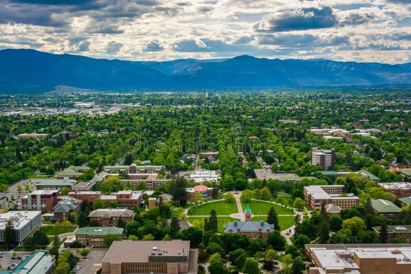 Vue d'université du Montana de la sentinelle de bâti, dans Missoula, photo libre de droits