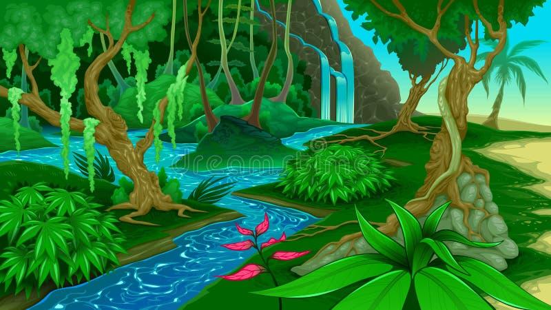 Vue dans la jungle illustration stock
