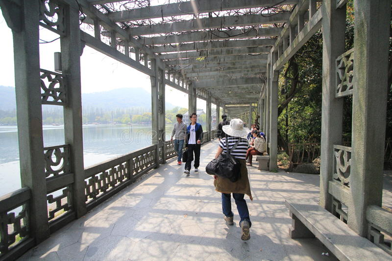 Vue dans le paysage culturel de lac occidental de Hangzhou photo stock