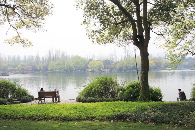 Vue dans le paysage culturel de lac occidental de Hangzhou image stock