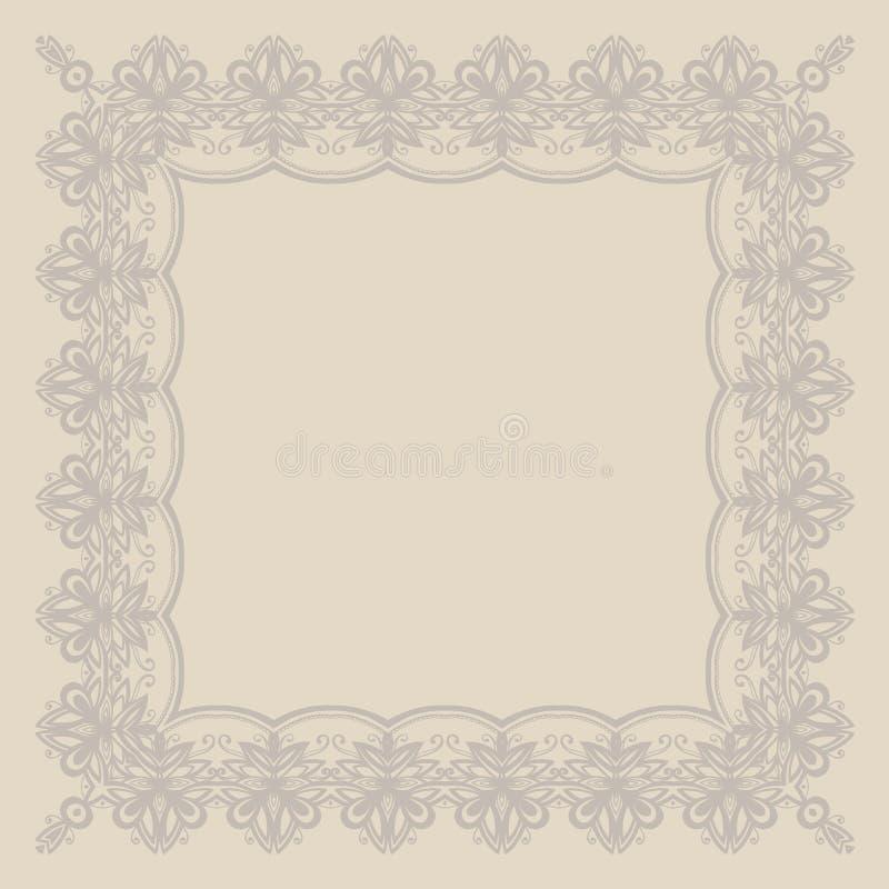 Vue dans le style anglais avec les ornements floraux Couleur beige Descripteur pour votre conception carte Cadre illustration stock