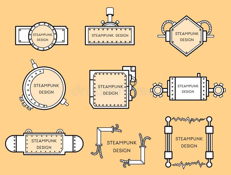 Vue dans le style de steampunk illustration de vecteur