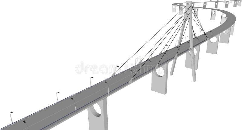 Vue de bâtiments de ville de pont du vecteur 3D illustration stock
