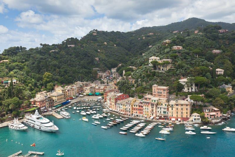 Vue de baie de Portofino de ci-avant photos libres de droits