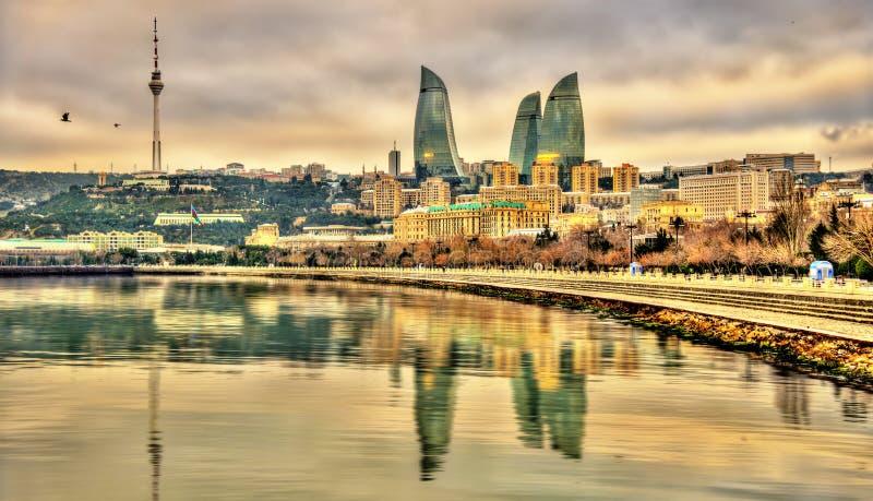 Vue de Bakou par la Mer Caspienne photos stock