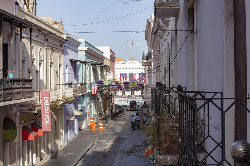 Vue de balcon du manoir du Gouverneur de Fortaleza de La à Puerto Rico images libres de droits