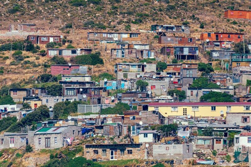Vue de banlieue noire dans le secteur de baie de Hout, Cape Town, Afrique du Sud photographie stock
