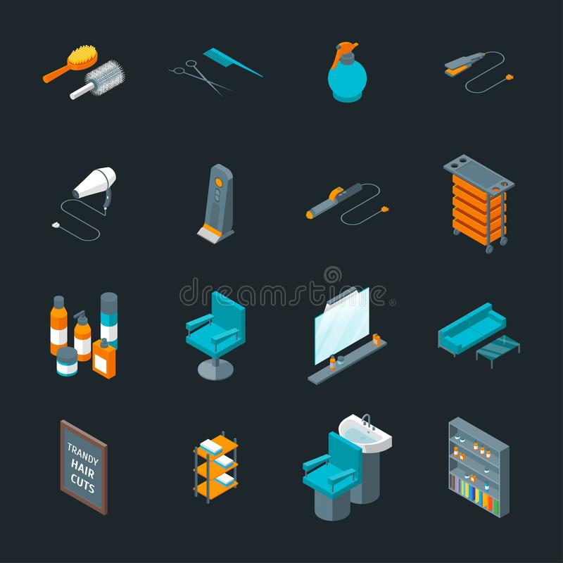 Vue de Barber Shop Icons Set Isometric Vecteur illustration de vecteur