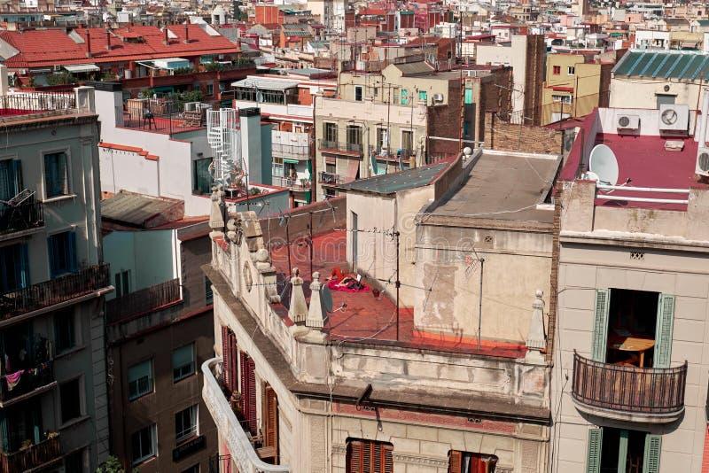 Vue de Barcelone d'en haut images libres de droits