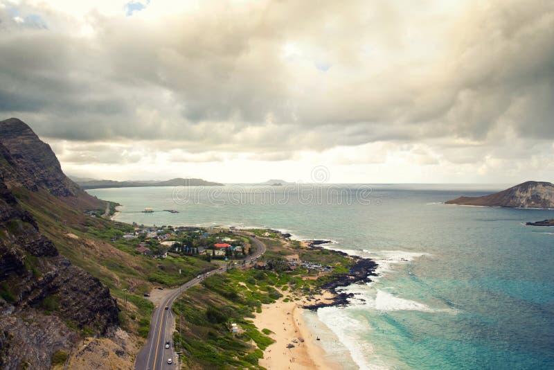 Vue de beau rivage du sud d'Oahu photo libre de droits