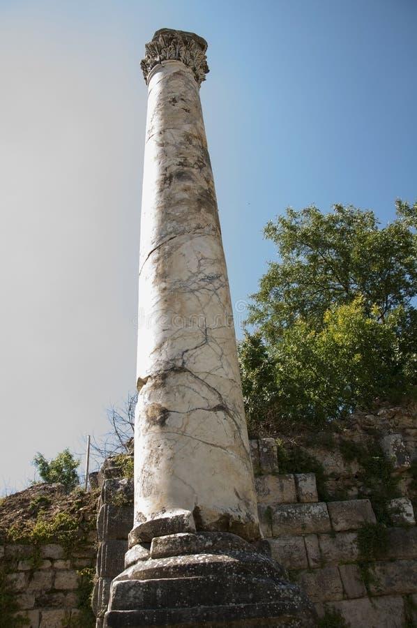 Vue de belle colonne grecque dans l'annonce Maeandrum, Aydin, TU de magnésie image stock