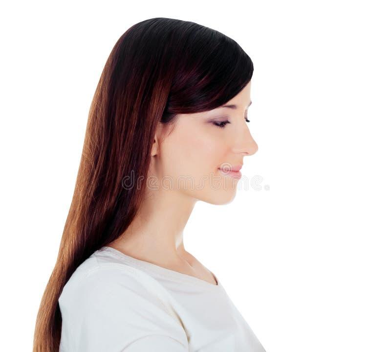 vue de belle jeune femme d'isolement au-dessus du blanc photos stock