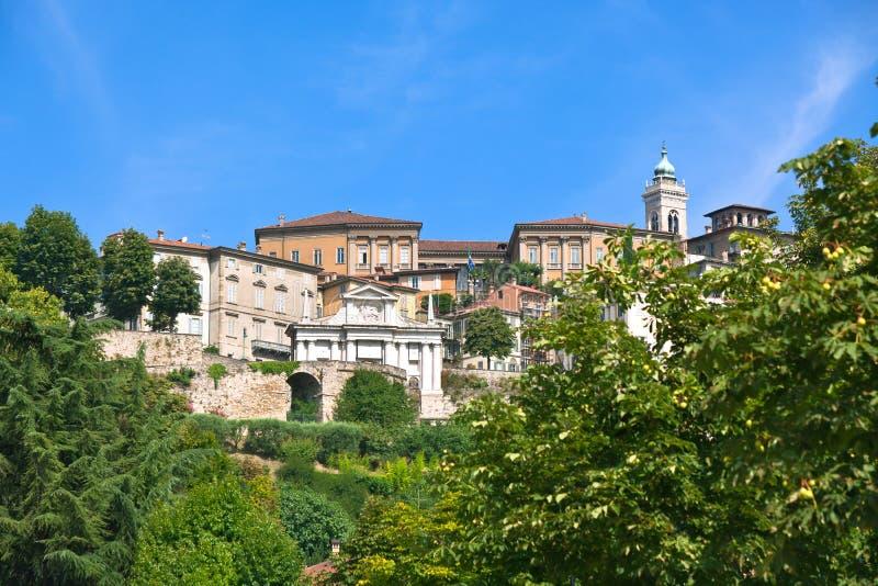 Vue de Bergame Alta, Italie photos libres de droits