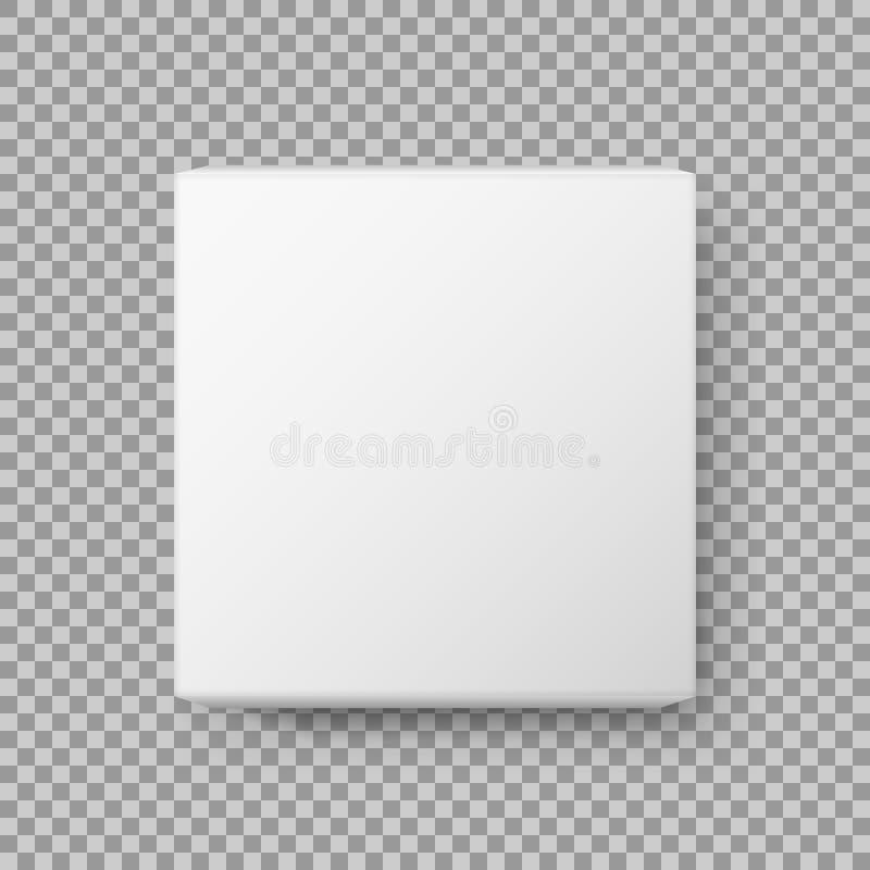 Vue de boîte Boîte en carton vide blanche réaliste de paquet D'isolement sur le fond transparent Illustration de vecteur illustration libre de droits