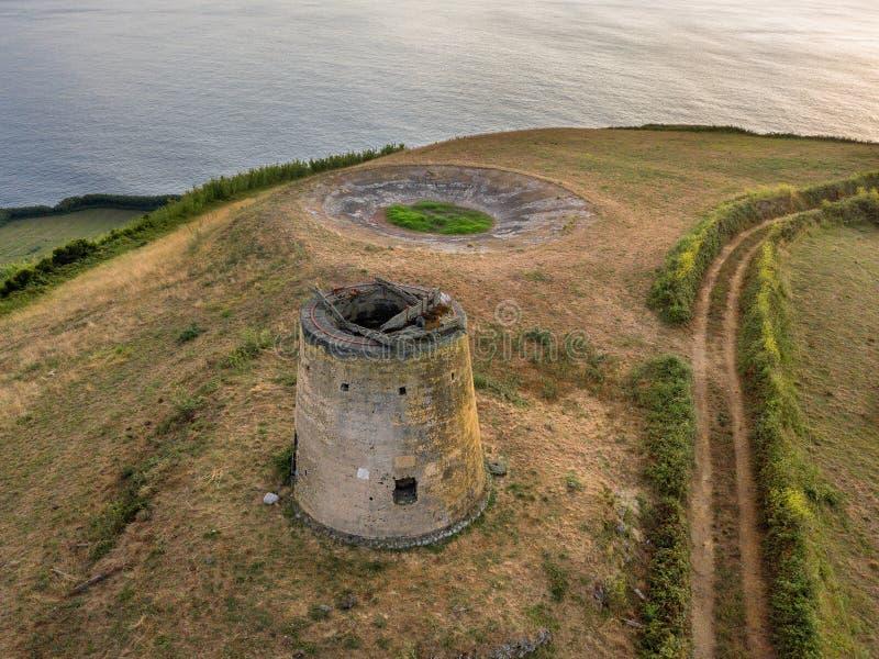 Vue de bourdon du paysage typique des Açores côtier avec des vaches dans une vue aérienne rurale Vue aérienne, point de vue panor photographie stock