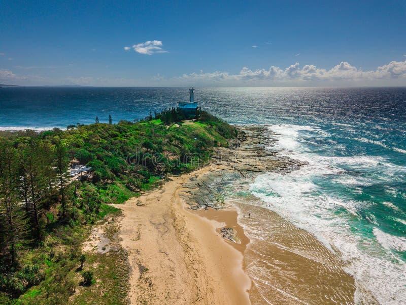 Vue de bourdon de phare en Australie image stock