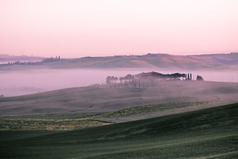 Vue de brouillard de matin sur la ferme en Toscane, Italie photographie stock libre de droits