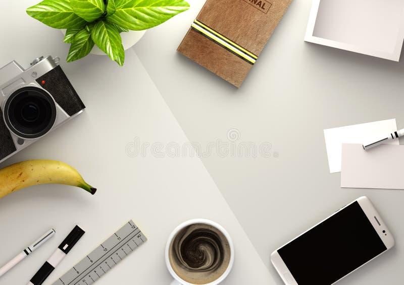 Vue de bureau de bureau avec Business Objects illustration libre de droits