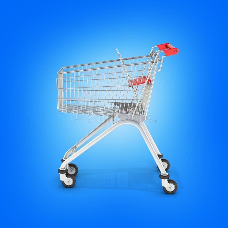 Vue de côté de caddie de supermarché sur le fond bleu 3d de gradient illustration stock