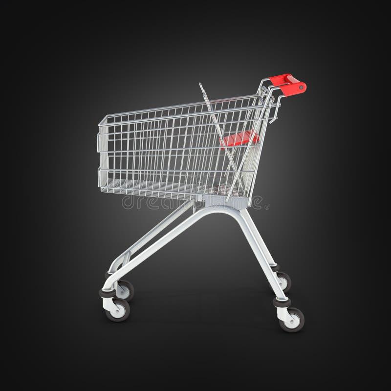 Vue de côté de caddie de supermarché sur le fond noir 3d de gradient illustration libre de droits